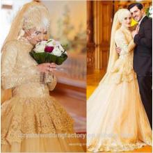 Vestido De Noiva vestido de novia de diseño de manga larga encaje vestido de bola 2017 vestido de novia con Hijab MW2183