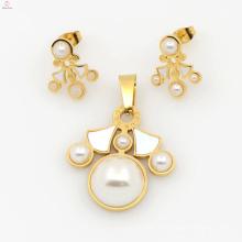 Conjunto de jóias de aço inoxidável de design de moda para mulheres