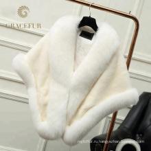 Новый стиль различного цвета мода натуральный мех шаль