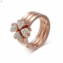 Schöne Edelstahl Rose Gold Pink Diamond Ringe