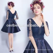 Graceful Short Sleeve Sweat Party Dress Últimas Design Chic Chiffon Evening Dress Navy Blue