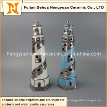 Kreative Dekoration Keramik Leuchtturm mit Teelicht