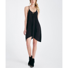 Macio rayon preto sexy moda por atacado deslizamento menina vestido