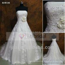 RSW240 handgemachtes Blumen-Spitze-Korsett-trägerloses Hochzeits-Kleid Tulle