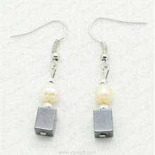 Freshwater pearl hematite Square beads earring