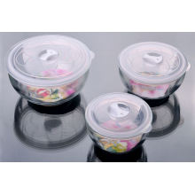 Gehärtetes Glas Schüssel Set mit Kunststoff Deckel Set 3