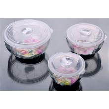 Set de bol en verre trempé avec couvercle en plastique Set de 3