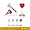 Fashion new design lip stud with gem labret rings internal threaded piercing jewelry