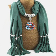 Women Solid Tassel Necklace Scarf Pendant Shawl