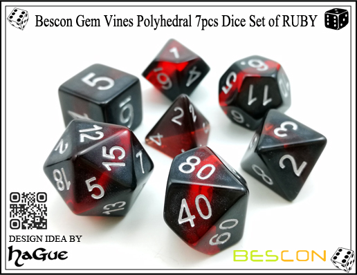 Bescon Gem Vines Polyhedral 7pcs Dice Set of RUBY-2