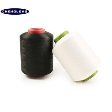 100% fiado fabricante de fio de poliéster na china branco e preto spandex coberto de fios de poliéster