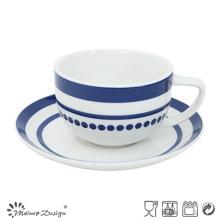 Taza y plato de porcelana de 8oz con elegante etiqueta azul