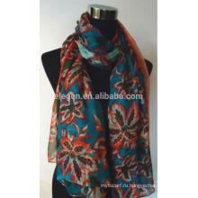 Шелковый цветочный цветок печати шарф