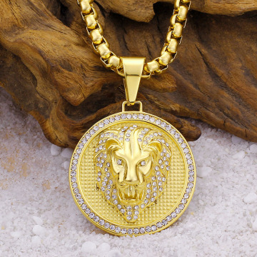 Collier Médaillon Lion Lion Punk Or Cristal