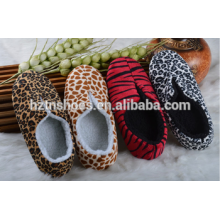 Leopard or zebra printing new design 2016 indoor slipper bootie winter shoes