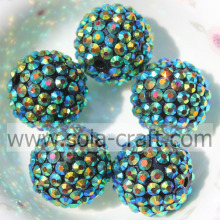 18*20MM Black AB Resin Acrylic Rhinestone DIY Bracelet Making Ball Beads