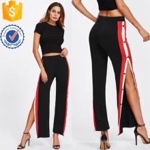 Los pantalones laterales del botón de la cinta manufacturan la ropa al por mayor de las mujeres de la manera (TA3090P)