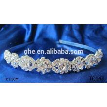 Nuevo rhinestone de la venta al por mayor de la manera que casa la tiara nupcial