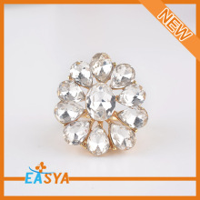 2015 Fashion New Gold Plated Alloy Flower White Glass Rhinestone Ring