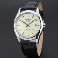 mininalist automatic watch with date design leather band