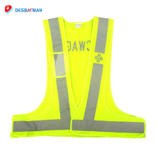 100% Polyester knitted fabric unisex high visibility reflective safety vest without pockets wholesale online