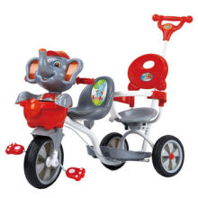Elephant Cartoon Babies' Tricycle with Music, LED Lights, Suspension, Double Seats