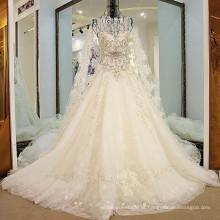 LS32100 Colete alto coberto com trinco com trinco sem voltas feito no vestido de casamento da Itália com trem de renda