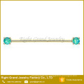 Surgical Steel Titanium Plated Prong Set Synthetic Fire Opal Earring Barbell