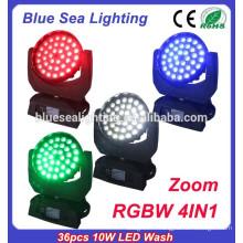 36pcs 10W RGBW 4in1 zoom LED lavabo de lumière avec lumière led