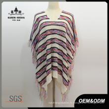 Femmes frange surdimensionné col en V manches courtes Poncho tricoté