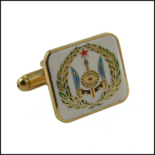 Gold Plated Metal Cufflink with Colorful Logo (GZHY-XK-027)
