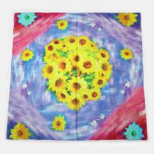 Silk Sunflower Impressão digital Big Square Scarf