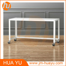 Powder Coat Office Furniture White Metal Rolling Console Table