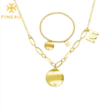 Gold Plated Letter M Charm Round Coin Pendant Necklace and Bracelet Jewelry Set Stainless Steel Modern Women Wedding Party Gift
