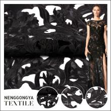 Горячая продажа элегантный черный вышивок с сетчатой тканью