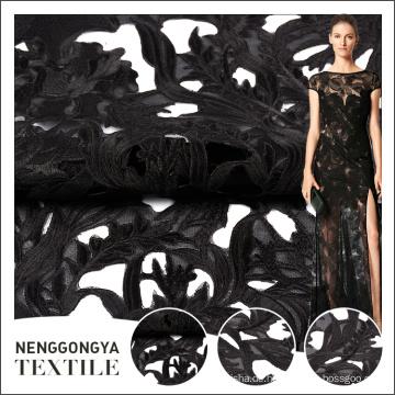 Heißer Verkauf elegante schwarze Stickerei Designs mit Netzstoff