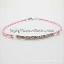 Diamante aleación pulsera tejida con alambre rosa
