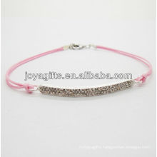 Diamante alloy woven bracelet with pink wire