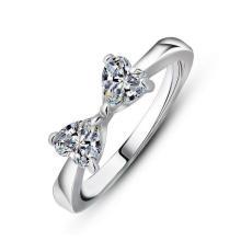 Chapeamento de platina mulheres anel de casamento zircão brilhante