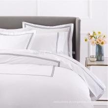 Folha de cama de hotel de bordados de algodão branco