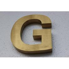 Letrero de carta de acero inoxidable chapado en oro cepillado no iluminado de titanio