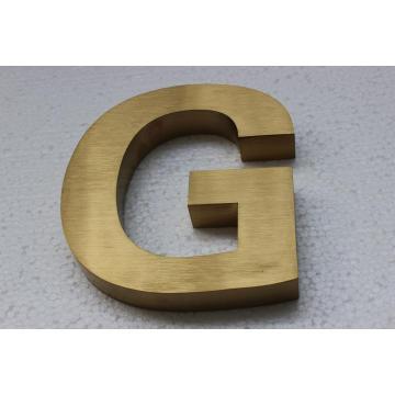 Panneau de lettre en acier inoxydable plaqué or brossé titane non illuminé