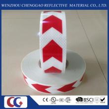 Ruban réfléchissant de PVC rouge et blanc de flèche avec le treillis en cristal