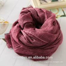 New whosale design Plain lace side cottton hijab scarf