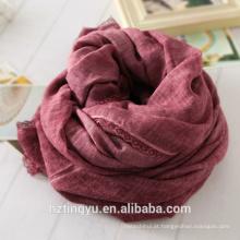 Novo design whosale Lã de renda lado cottton lenço hijab