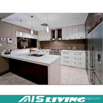 Gabinete de cocina de doble color en forma de U para proyecto (AIS-K255)