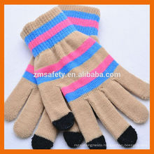 Stripe Smartphone Gloves With 3 Touch Fingers