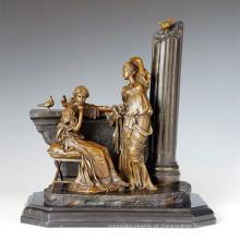 Figura clássica estátua relaxar irmãs escultura de bronze TPE-1006