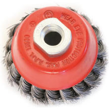 cup brush with knotted twist wire brush
