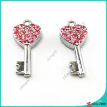 Pingente de chave-de-rosa Coração de cristal jóias (MPE)
